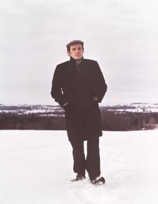 Photograph of Glenn Gould walking in the snow
